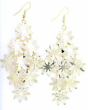 10cm long gold tone five layers flower chandelier earrings