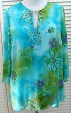 DAISY FUENTES Top Cami Plus size 1X Blue Purple Green 3/4 Sleeve Womens