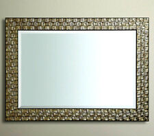 John Lewis Wall  Mirror RRP £175  Wood Mosaic Frame Antique Silver 117x92cm New