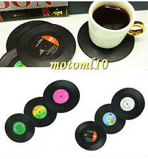 6PCS Useful Gadget Retro Vinyl CD Record Shape Drinks Holder Coasters Placemat M
