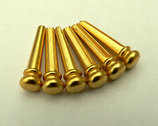 Gold coloured metal bridge pin set for acoustic guitars string pegs pins