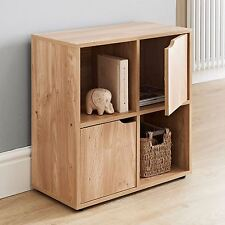NEW & BOXED OAK 4 CUBE 2 DOOR WOODEN STORAGE DISPLAY UNIT