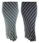 Women plus size striped print pencil skirt elastic waist Black White Navy Yellow