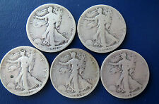 WALKING LIBERTY HALF SILVER DOLLARS, 1918S, 1923S, 1933S, 1934PD, Lot of 5 COINS