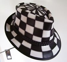 BLACK & WHITE LEATHER CHECKED PATTERN FEDORA / GODFATHER STYLE MENS FORMAL HAT