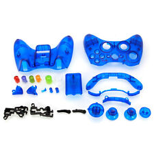 Wireless Controller Case Shell Cover Full Buttons for XBox 360 Transparent Blue