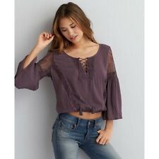 American Eagle Outfitters Women's Purple Boho Peasant Top Sz XL