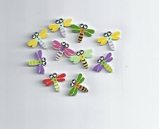 10Pcs Random Mixed Dragonfly Wood Sewing Buttons 2 Holes Scrapbooking (171)