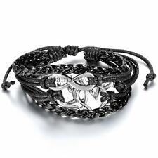 Multilayer Leather Braided Infinity Love Pattern Tribal Men Women Cuff Bracelet