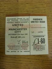 27/09/1980 Ticket: Manchester United v Manchester City  (folded/creased). Thanks