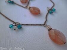 """Virgin Vie """"Collana Cherry Blossom' 3 Strand Rosa Blu Perline di vetro * NUOVO *"""