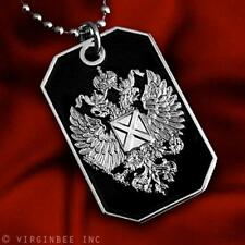 RUSSIAN IMPERIAL EAGLE ST.ANDREW CROSS FLAG PENDANT DOG TAG BALL CHAIN NECKLACE