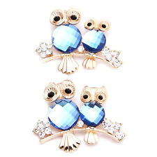 2x Gold Plated Rhinestone Diamante Double Owls Alloy Brooch Remembrance Gifts C