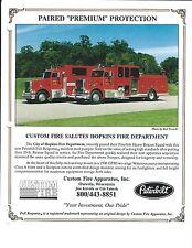 Fire Equipment Brochure Custom Fire Peterbilt Pumper City of Hopkins Ad (DB279)