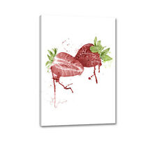 Toile fraises 90x60cm Digital aquarelle nature strawberry la fresque Caro type