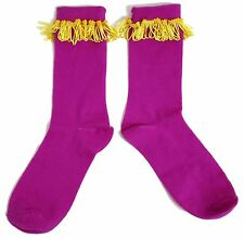 LADIES PURPLE HAND EMBELLISHED LAMPSHADE TRIM SOCKS UK 4-8 EUR 37-42 US 6-10