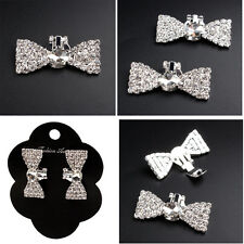 Decoration Rhinestone Crystal Wedding Silver Tone Bowknot Shoes Clips For Women