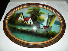 Antique Oval Wood  Framed Reverse Painting Convex Glass - Home and Boat Scene