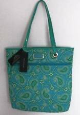Tommy Hilfiger Womens Aqua Paisley Quilted Tote Bag NWT