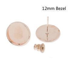 50Pcs 12MM Earrings Findings Crafts Round Bezel Earrings Stud Blank Pad Base