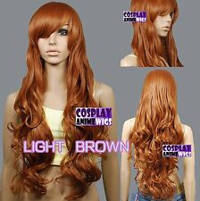80cm Light Brown Heat Styleable Curly Long Cosplay Wigs 967_LLB