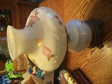 MID CENTURY HAND PAINTED HURRICANE GONE WITH THE WIND STYLE PUFFY TABLE LAMP