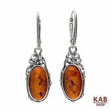 COGNAC BALTIC AMBER STERLING SILVER 925 JEWELLERY EARRINGS. KAB-155
