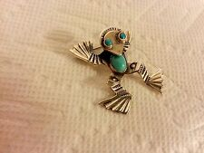 NAVAJO NATIVE AMERICAN STERLING SILVER TURQUOISE FROG PIN BROOCH