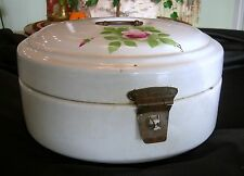 Antique SHABBY FRENCH WHITE ENAMELWARE HAND PAINTED HINGED BOX CONTAINER Roses