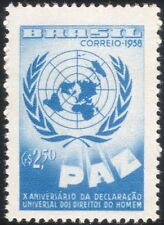 Brazil 1958 UN/Human Rights 10th Anniversary/Map/Peace 1v (n28009)