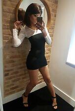 Super Sexy Black & White Lace Sleeve Tight Body Con Micro Mini Dress! Size 8