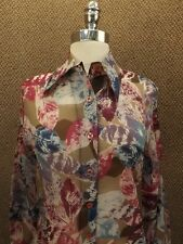 Fall Season Leaf Print Vtg 1960s NEW NOS Nylon Chiffon Shirt Blouse Sz M Classy