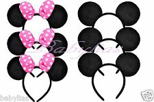 20 Minnie Mouse Ears + Mickey Headbands Black PINK Bows Hat Party Favors Costume