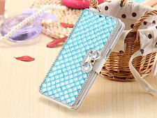 Bling Diamond Bow Flip Wallet PU Leather Stand Case Cover For Huawei Phone S001