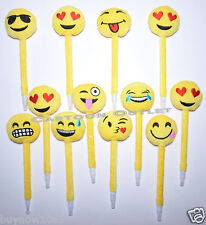 12 X EMOJI PENS PARTY FAVORS KIDS KEEPSAKE GIFTS PLUSH YELLOW EMOTIONS RECUERDOS