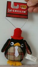 New CRACKER BARREL Advertising Plush PENGUIN with tag JUST CHILLIN 4 inch high