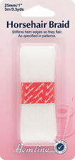 Hemline Horsehair Braid White 3m x 25mm - H696.25