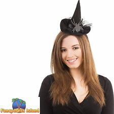 SMALL GOTH HALLOWEEN WITCH HAT DIAMANTE SPIDER HEADBAND - fancy dress accessory