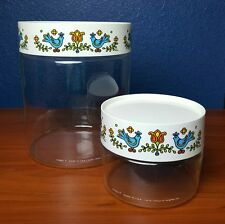 Vintage Set 2 Pyrex Friendship Corning Bluebird Country Festival Glass Canisters