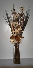 Unique Choc/Cream maize Rose Bouquet in FREE wood vase (20 LED battery lights)