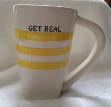 "Pier ""Get Real""Coffee/Tea Mug Cup Ceramic Yellow Stripe Square Base Hand Painted"