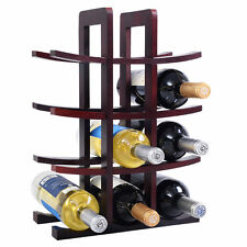 New 12 Bottle Wood Wine Rack Bottle Holder Storage Bar Kitchen Burgundy