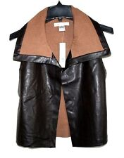 August Silk - M - NWT $68 - Brown Faux Leather & Ribbed Knit Collar Vest Jacket