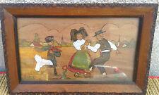 Ancien tableau sur bois, scéne de danse ALSACE signé Boh?, french antique.