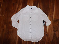 NWT Womens Terre Bleue White Tunic Shirt Long Sleeves Size L Large