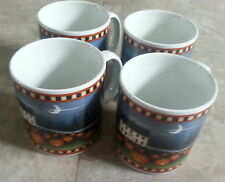 "David Carter Brown Collection ""Pumpkin Hollow"" Set of 4 2001 11 oz mug cup safe"