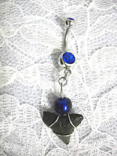 REAL SHARK TOOTH DANGLING CHARM w COBALT BLUE BEAD & CZ GEM BELLY BUTTON RING