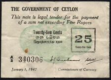 1942 CEYLON 25 CENTS BANKNOTE * A/2 340306 * VF * P-40 * FIRST ISSUE *
