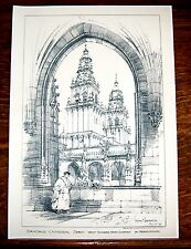 Santiago Cathedral - Spain - Architectural Drawing Print- Circa 1892