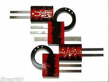 Small Red Black Silver Modern Abstract Art Wood w/ Metal Wall Sculpture Hanging
